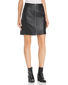 rag & bone/JEAN - Heidi Zip-Front Leather Skirt