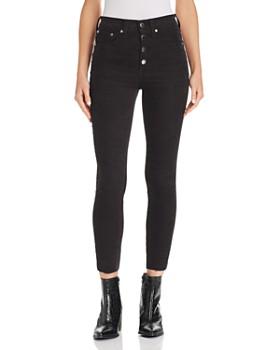 rag & bone/JEAN - Rosie Corduroy Raw-Edge Ankle Skinny Jeans in Black