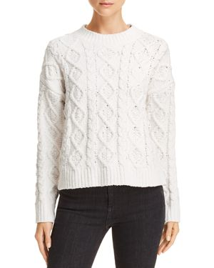 HONEY PUNCH Chenille Cable Knit Sweater in White