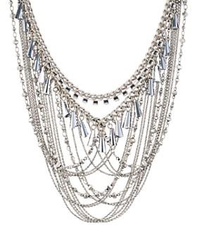 "Rebecca Minkoff - Crystal & Chain Drama Necklace, 17""-19"""