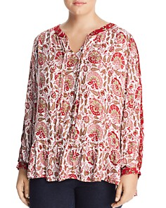 Lucky Brand Plus - Printed Peasant Top