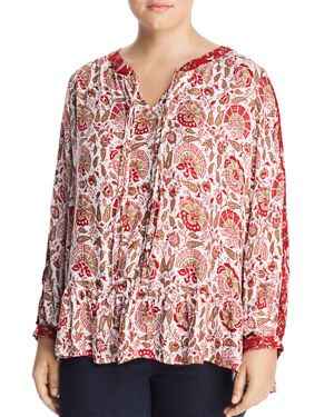 Lucky Brand Plus Printed Peasant Top