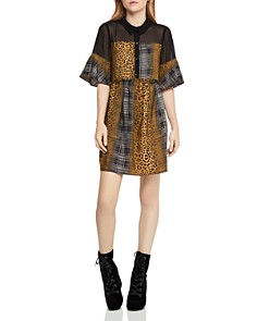 BCBGeneration - Plaid-and-Animal-Print Dress