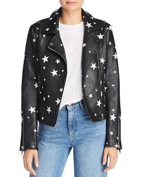 AQUA - Star Print Faux Leather Moto Jacket - 100% Exclusive