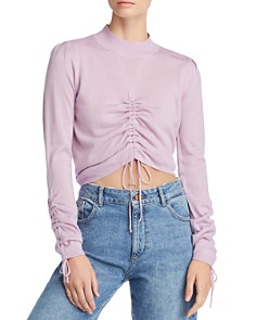 JOA - Ruched Drawstring Cropped Sweater