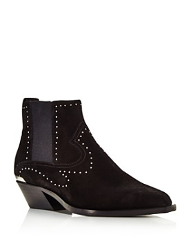 rag & bone - Women's Westin Pointed-Toe Studded Suede Low-Heel Booties