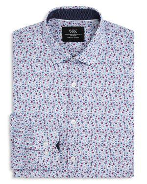 WRK Floral Print Slim Fit Dress Shirt in Pink/Blue