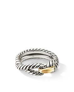 David Yurman - Crossover Collection Cable Loop Ring with 18K Yellow Gold