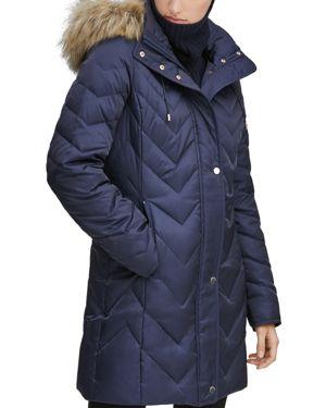MARC NEW YORK Chevron Down-Fill Faux-Fur Hooded Coat in Blue