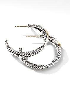 David Yurman - Cable Loop Hoop Earrings with 18K Yellow Gold