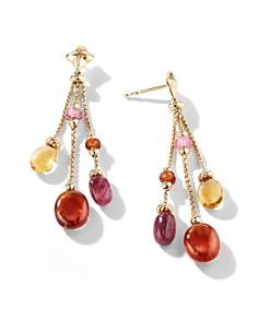 David Yurman - Bijoux Bead Link Drop Earrings in 18K Yellow Gold with Spessartite Garnet