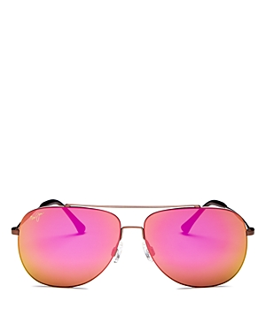 Maui Jim Unisex Cinder Cone Polarized Brow Bar Aviator Sunglasses, 58mm-Jewelry & Accessories