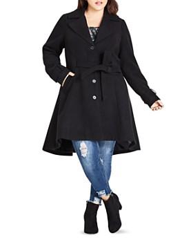 City Chic Plus - Flared High/Low Hem Coat