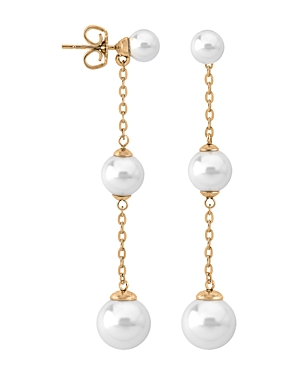 Majorica Simulated Cultured Pearl Drop Earrings in White Gold-Plated Sterling Silver