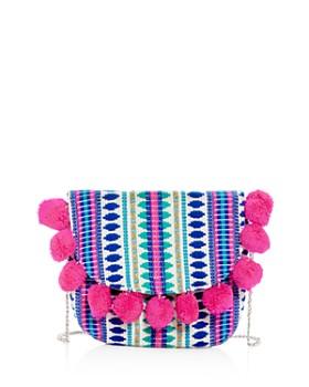 Capelli - Girls' Pom-Pom Embroidered Shoulder Bag