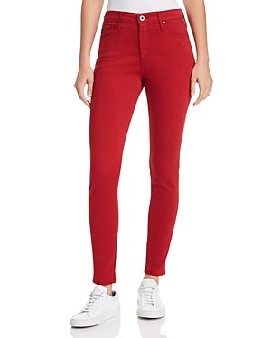 Ag Farrah Ankle Skinny Brushed-Sateen Jeans in Red Amaryllis