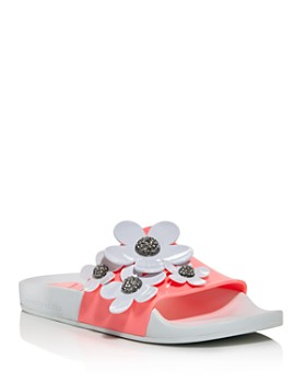 MARC JACOBS - Women's Daisy Embellished Pool Slide Sandals