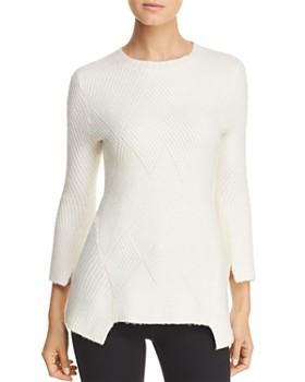 Heather B - Ribbed Notch-Hem Sweater