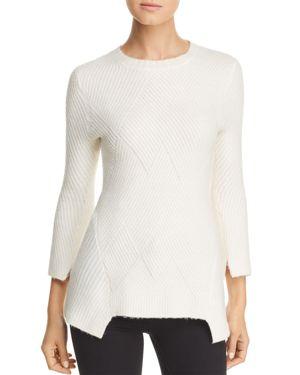 HEATHER B Ribbed Notch-Hem Sweater in Ivory