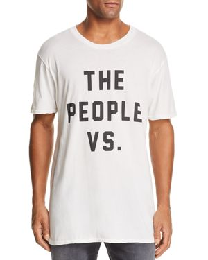 THE PEOPLE VS Distressed Logo Graphic Tee in Off White