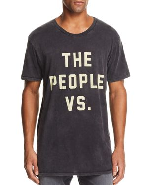 THE PEOPLE VS Distressed Logo Graphic Tee in Black Acid
