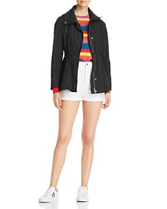 Moncler - Disthene Raincoat, Rainbow Striped Sweater & Logo Shorts
