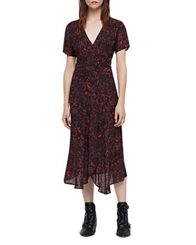 ALLSAINTS - Seeta Rosey Midi Wrap Dress