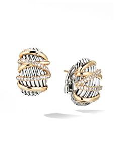 David Yurman - Helena Shrimp Earrings with 18K Yellow Gold & Diamonds