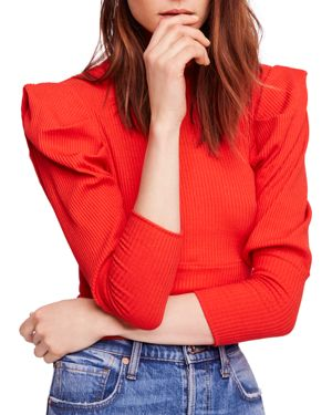 Free People Lala Puff-Sleeve Cropped Top