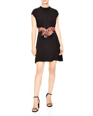 SANDRO Silk Belt Shirred Neck Minidress in Black