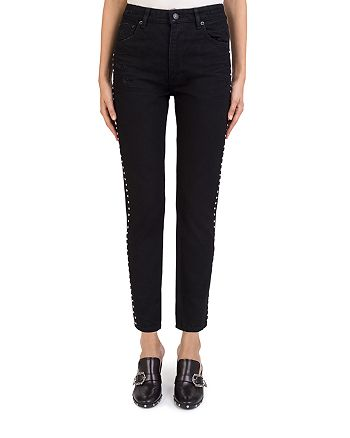 The Kooples - Rhinestone Studded Mid-Rise Ankle-Length Slim Jeans in Black