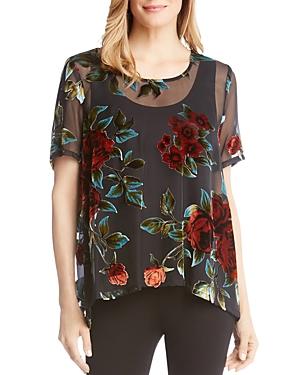 Karen Kane Semi-Sheer Floral Velvet Burnout Top