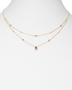 "Bloomingdale's - Ruby & Diamond Layered Necklace in 18K Yellow Gold, 18"" - 100% Exclusive"