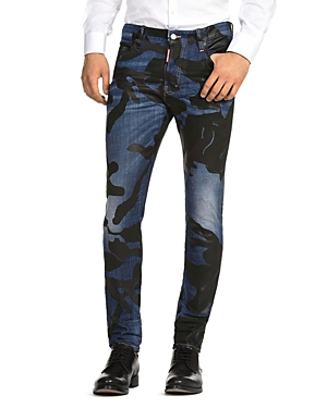 DSQUARED2 Skater Camouflage-Print Slim Fit Jeans in Blue
