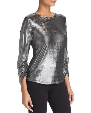 LE GALI Maura Ruched-Sleeve Top - 100% Exclusive in Silver