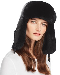 Crown Cap - Rabbit Fur-Trim Leather Aviator Hat