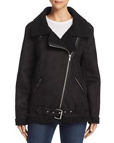 En Créme - Faux Shearling Moto Jacket