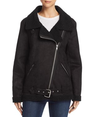 EN CREME Faux Shearling Moto Jacket in Black