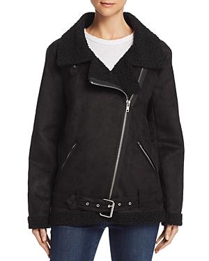 En Creme Faux Shearling Moto Jacket