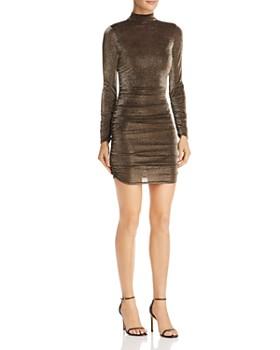 LIKELY - Wylie Mock Neck Metallic Mini Dress