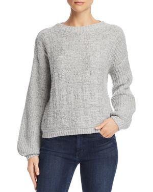 SAGE THE LABEL Sage The Label Sunday Feels Crosshatch Sweater in Heather Gray