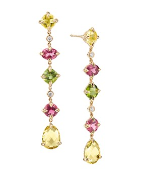 David Yurman - Chatelaine Multi Drop Earrings in 18K Yellow Gold with Lemon Citrine, Pink Tourmaline, Peridot & Diamonds