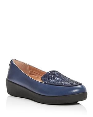 FitFlop Women\\\'s Crystal Embellished Leather Sneaker Loafer