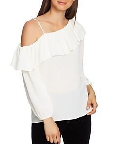 1.STATE - Cold-Shoulder Ruffle Top
