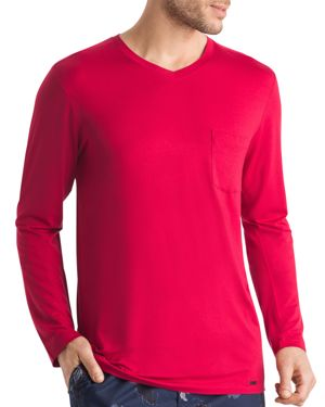 Hanro Long-Sleeve V-Neck Lounge Tee