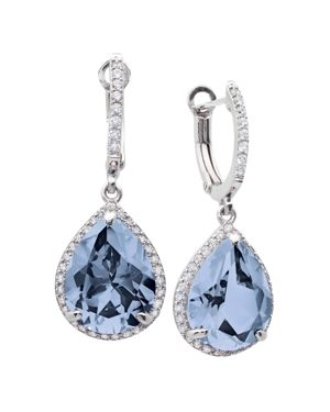 CRISLU Aqua Drop Earrings In Platinum-Plated Sterling Silver in Blue/Silver