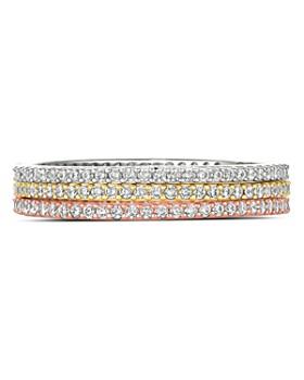 Crislu - Three-Tone Stackable Rings in Platinum-Plated Sterling Silver, 18K Gold-Plated Sterling Silver or 18K Rose Gold-Plated Sterling Silver, Set of 3