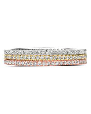 CRISLU Three-Tone Stackable Rings In Platinum-Plated Sterling Silver, 18K Gold-Plated Sterling Silver Or 18 in Multi