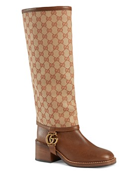 4cb1aa8ea Gucci - Women's Lola Leather Boots with GG Gaiter ...