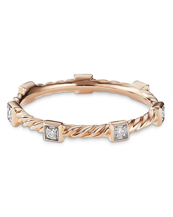 David Yurman - Cable Collectibles Cable Stack Ring in 18K Rose Gold with Diamonds